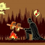 Darth Vader cooking Ewoks on a stick err…lightsaber [pic]