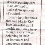 Mario Kart inspired violence [newspaper clip]