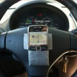 Duct tape GPS holder for your steering wheel [pic]