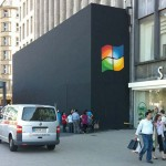 Microsoft fans put Windows logo on upcoming Apple store [pic + video]