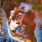 Playing Video Games on Splash Mountain [pic]
