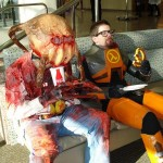 Dr. Gordon Freeman And a Headcrab Guy Cosplay Taking a Break [pic]