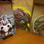 Doctor Who Cyberman, Dalek Prime Minister and Silurian Lunch Bag Art [pic]