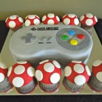SNES Controller Cake with Mario Mushroom Cupcakes [pic]