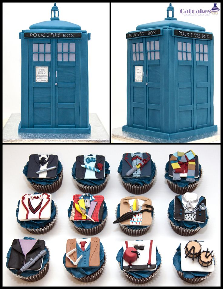Doctor Who Cupcakes and TARDIS Cake