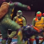 Mexican wrestlers dressed as the Teenage Mutant Ninja Turtles