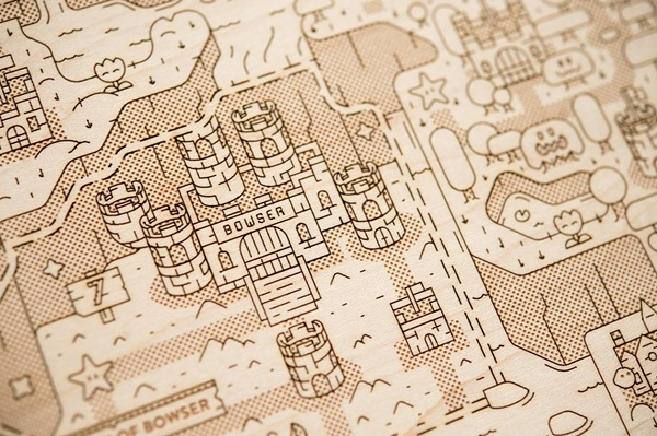 Wooden Super Mario World Dinosaur Land Map
