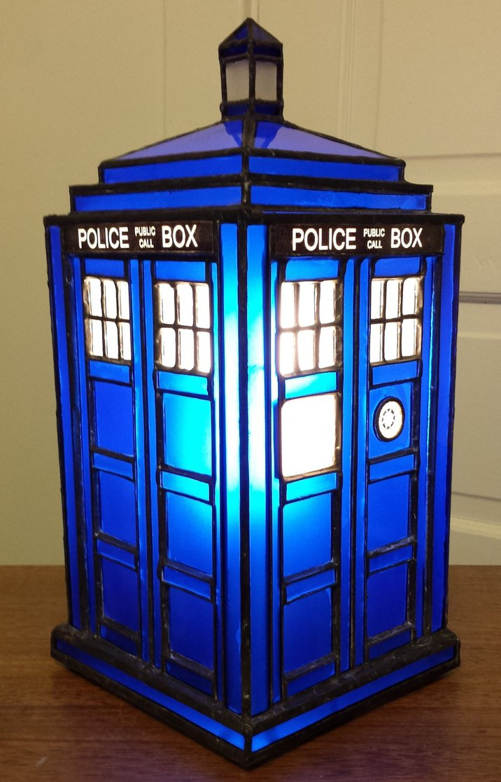 TARDIS stained glass lamp
