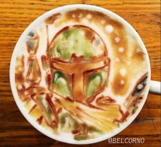 Boba Fett Star Wars Latte Art
