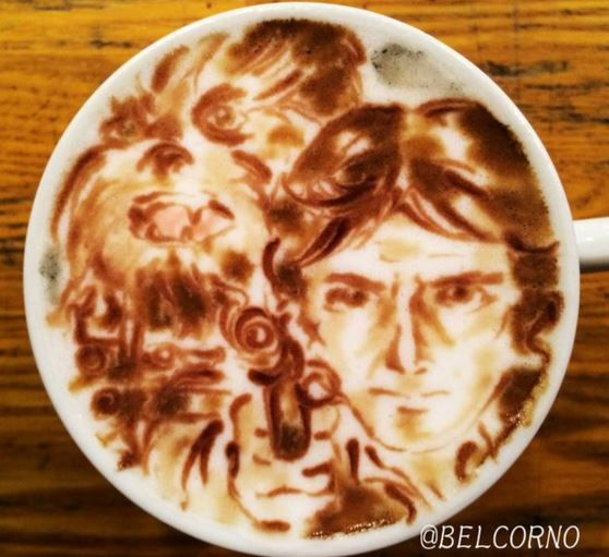 Han Solo and Chewbacca Star Wars Latte Art