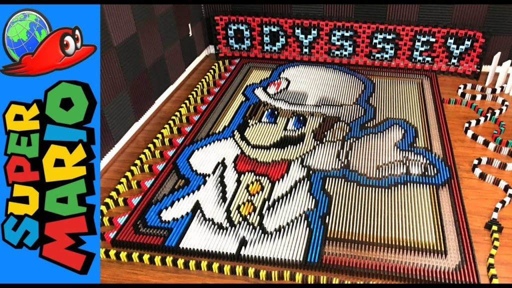 Super Mario Odyssey celebrated with 148,777 dominoes!