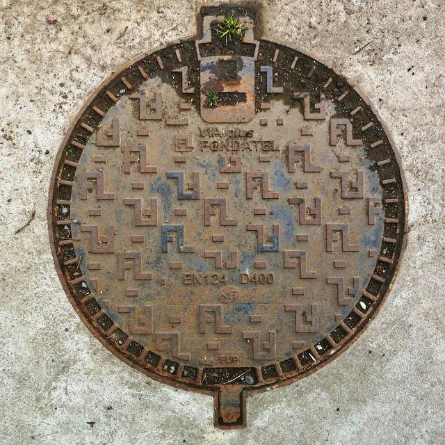 Pac-Man Manhole Cover Art Before