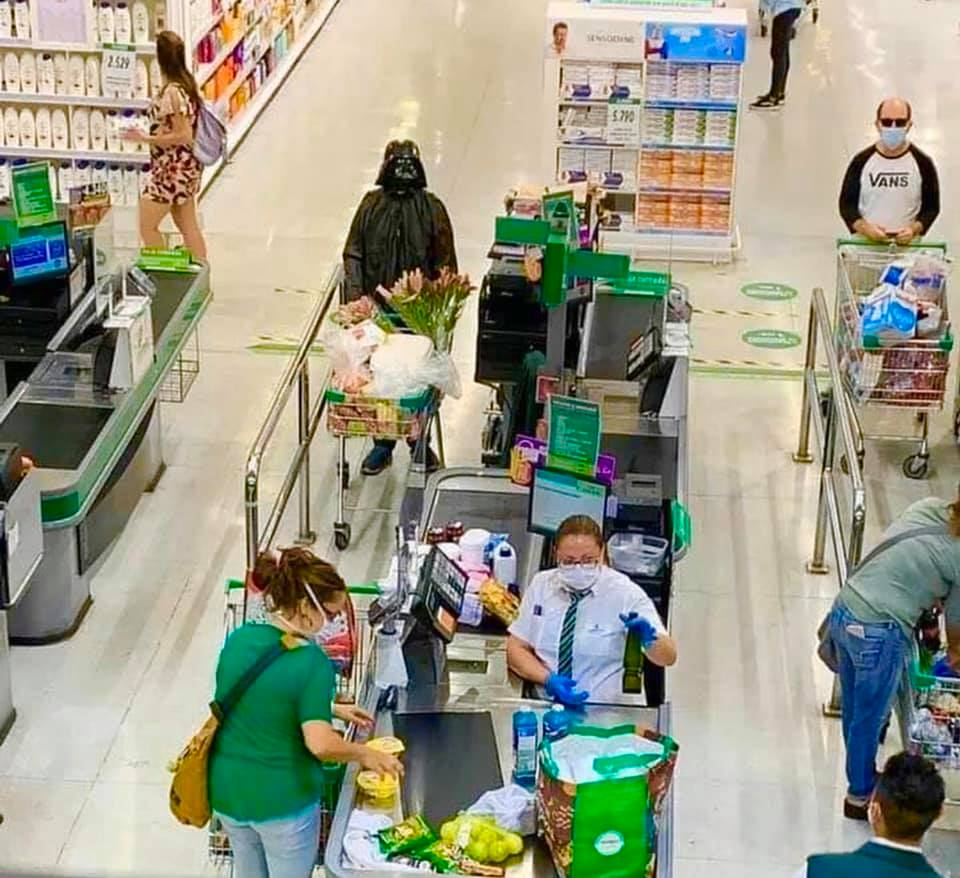 Darth Vader in a grocery store