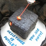 Star Trek Birthday Cake:  The Enterprise vs The Borg [pic]
