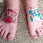 8-Bit Mario and Luigi Feet Tattoos [pic]