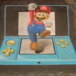 Chalk Art Super Mario Jumping Out of a Nintendo 3DS [pics]