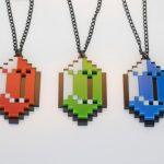 Set Of Legend Of Zelda Pixelated Rupee Necklaces [pic]