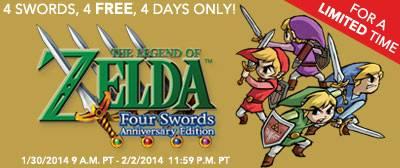Legend of Zelda Four Swords Free on the 3DS