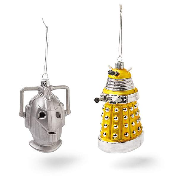 Doctor Who Cyberman and Yellow Dalek Christmas Ornaments
