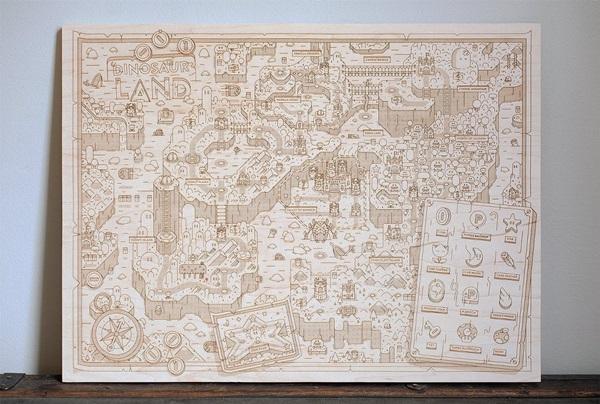 Wooden Super Mario World Map