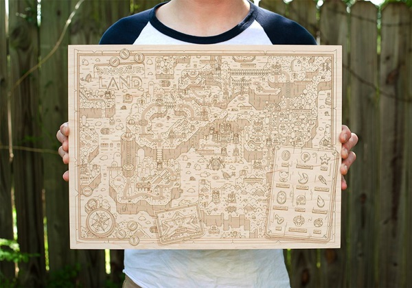 Wooden Super Mario World Dinosaur Land Map