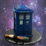 A Fantastic TARDIS and Sonic Screwdriver Cake