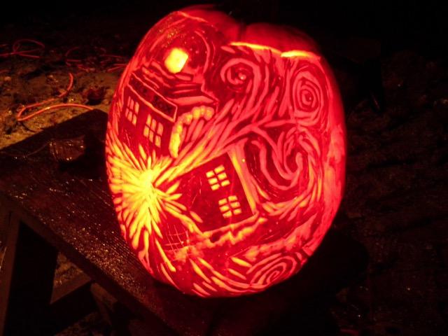 Exploding TARDIS Pumpkin Carving