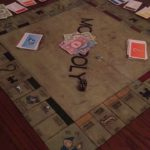 Wood Burned Monopoly Board Table