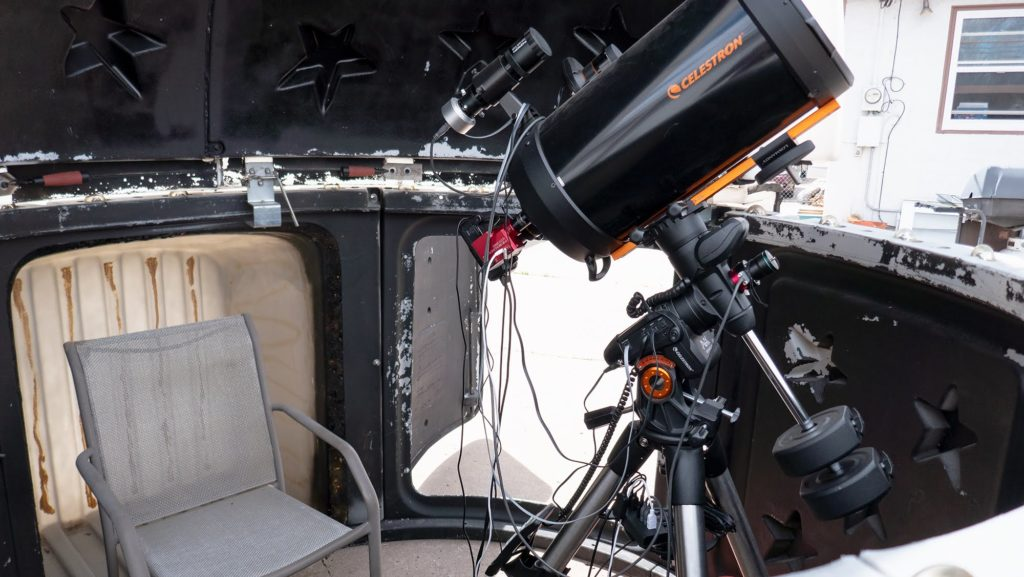 My Celestron telescope in my SkyShed POD XL3