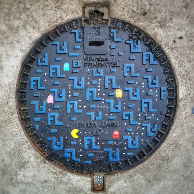 Pac-Man Manhole Cover Art