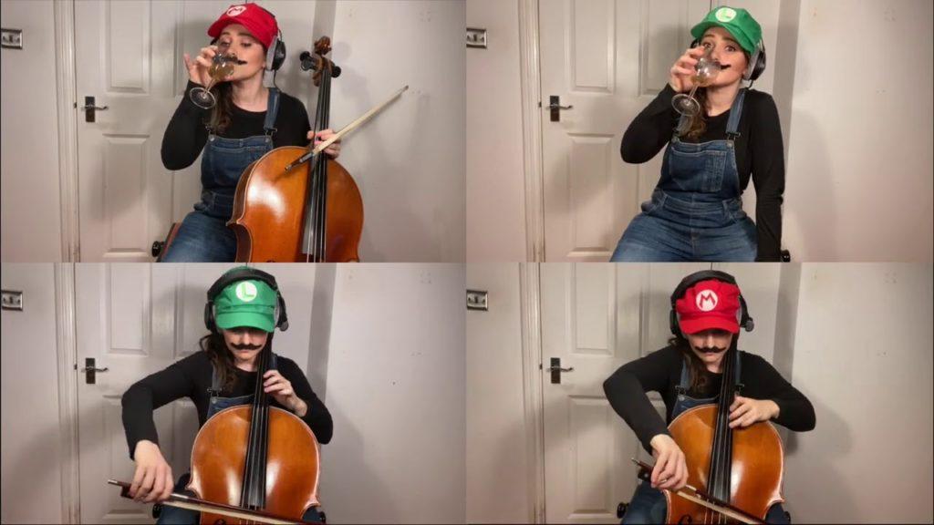 Super Mario Bros on 3 cellos and an egg shaker
